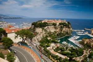 Monaco harbours and castle from the Jardin Exotique